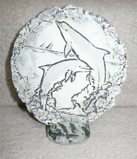 Shapes of Clay Dolphins Plaque by Stan, Mt. St. Helens Ash, with Stand and Tag