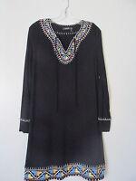 Theme Black Embroidered Aztec Print Trim Long Sleeve Shift Dress NWOT SZ:M