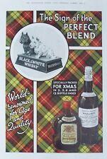 OLD ADVERT BLACK & WHITE WHISKY ADVERT DOGS BUCHANANS c1930 VINYAGE PRINT