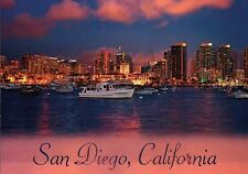 Skyline of San Diego California at Sunset, Boats in Bay, Harbor, CA --- Postcard