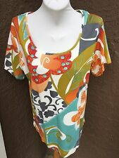 New Soldout Chico's Pure Flower Aviary Cotton Top Shirt Tee Sz. 3 = XL 16 18 NWT