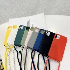 Hot TPU Color Lanyard Plain Hybrid Matte Shockproof Soft Slim Phone Case Cover