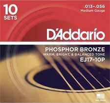 D'Addario ej17-10p Pro Pack bronze phosphoreux, Medium, 13-56, 10 jeux en 1 box!!