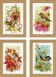 Four Seasons Birds Miniatures Cross Stitch Kit (Set of 4)