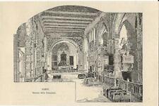 Stampa antica RIMINI interno del Tempio Malatestiano Cattedrale 1892 Old print
