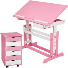 Bureau enfant ergonomique table inclinable avec commode caisson à roulettes rose