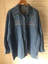 Vintage Denim Long Sleeve Button Front Collar Top Floral Embroidery Plus Size 22