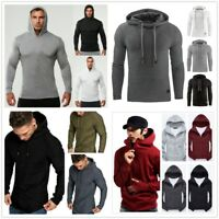 Men Solid Workout Hoodies Gym Muscle Pullover Sweatshirt Thin Hoody Tops Sweater