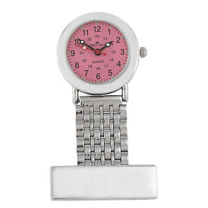 Personalised Nurses Fob Watch Glow In The Dark Pink/Silver Face FREE Engraving