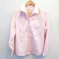 Chicos Womens No Iron Blouse Shirt Top Pink Size 2 Long Sleeve Career Large 12