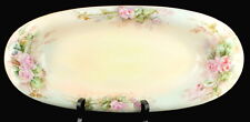 Antique Signed Limoges Hand Painted R. Delinieres Oval Relish Dish Large Roses