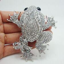Fashion Animal Brooch Clear Pendant Rhinestone Crystal Black Eye Frog Brooch Pin