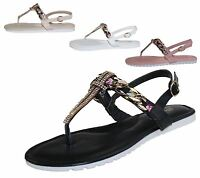 Ladies Diamonte Embellished Sandals Flat Summer Caual Womens Evening Party Shoes