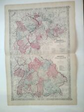 1863 GERMAN EMPIRE  map #2 & no.3 Antique Hand colored  by Johnson & Ward