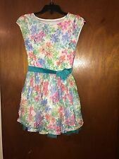 The Children's Place White Lace Dress Purple Flowers Girls 6 6x Floral