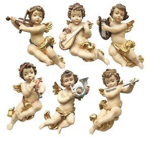 Engel fliegend mit Instrument Putte barock Weihnachten Deko Holz Schnitzerei