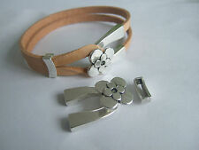 5 Sets Antique Silver Floral Flower Wishbone Clasp For 5mm Flat Leather Bracelet