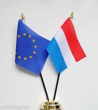European Union & Netherlands Double Friendship Table Flag Set