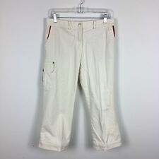 Oilily Womens Cropped Pants Size 8 Off White Embroidery Cargo Pocket Button Hem