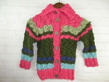 Marese Girls size 4 Years Pink and Brown Crochet Knit Cardigan Sweater