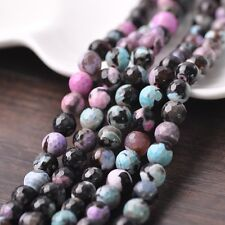 30pcs 8mm Round Natural Stone Loose Gemstone Beads Faceted Multicolor 1# Agate