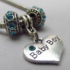 Baby Boy Blue European Charm Beads For Large Hole Bracelets - Baby Shower Gift