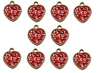 10 Gold Resin Hearts With Red & White Dots Double Sided Embellishments Crafts