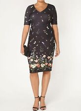 NEW - EX EVANS BLACK FLORAL BORDER PRINT SHIFT DRESS - SIZES 18 20 22 24 26 28