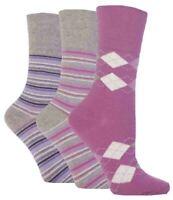 3 Pairs Ladies Gentle Grip Non Elastic Cotton Socks Selection Mix 14, Size 4-8
