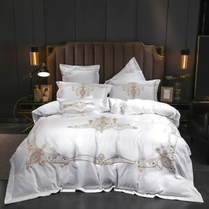 Bedding set 4pcs Silk cotton embroidery bedding bag flat sheet 2 pillow shames