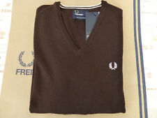 FRED PERRY K7210 Sweater Tipped V-Neck Size S Chocolate Wool Jumper BNWT RRP£90