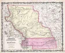 1860 Johnson Map of Nebraska Territory and Kansas