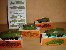 military Diecast set of 4 USSR Model tank metal toy soviet car Russian truck