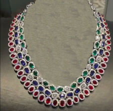 NATURAL GEMSTONES RUBY EMERALD BLUE SAPPHIRE 3 LINES NECKLACE IN 92.5 SILVER