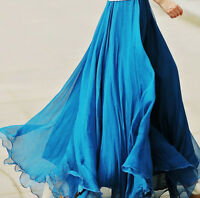Women Elastic Chiffon Pleated Double Layer Maxi Dress Long Summer Beach Skirt