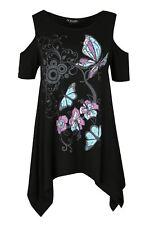 Womens Short Sleeve Butterfly Print Baggy Oversize Cold Shoulder Hanky Hem Top
