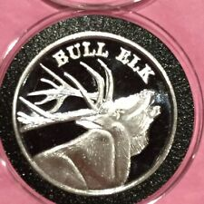 Wapiti Bull Elk Collectible Wildlife Coin 1 Troy Oz .999 Fine Silver Round Medal