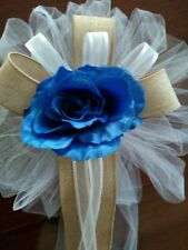 6pc burlap wedding pew bows white and royal blue with burlap or any color