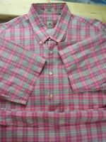 Peter Millar Mens Pink plaid print short sleeve button down shirt size XL