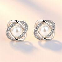 Women Girls Elegant Crystal Pearl Ear Studs Earrings 925 Solid Silver Jewelry