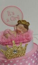 PRINCESS CROWN GIRL BABY SHOWER CAKE TOPPER CENTERPIECE FIGURINE DECORATION
