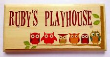 Personalised Playhouse Plaque / Sign / Gift -Owls Treehouse Kids Room Girls Boys