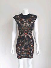 BNWT Alexander McQueen Bodycon Wool Dress with Floral Pattern,size XXS,RRP £695