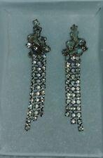 Vintage Pear/Round Rhinestones Clip Dangle Earrings