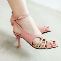 Women's High Slim Heels Buckle Casual Peep Toes Dress Ankle Straps Shoes Fashion