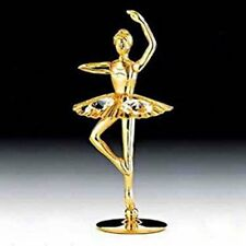 "SWAROVSKI CRYSTAL ELEMENTS ""Ballerina"" FIGURINE - Free Standing 24KT GOLD PLATED"