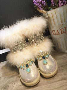 Women Handmade Rhinestone Fox Fur Medium Tube Velvet Leather Snow Boots