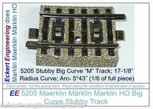 """EE 5205 GD (Fair to Good) Marklin HO """"M"""" Track Stubby Big Curve 5205GD  6 ties"""
