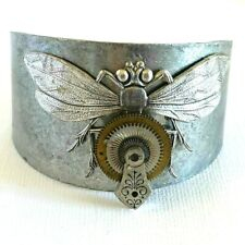 Steampunk Beetle Bug Insect Bracelet Bangle Pewter Brass Tone Metal Large Wrist