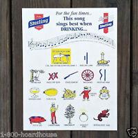 10 Vintage Original STERLING BEER SONG Sheets 1940 NOS Unused SING WHEN DRINKING